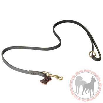 Leather Dog Leash with Ring for Additional Leash Attachment