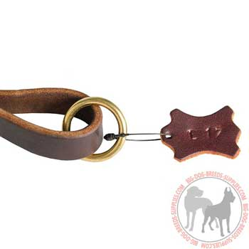 O-ring on leather pull tab for leash attachment