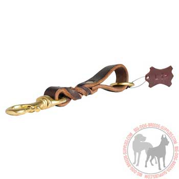 Short dog leather lead for dealing with powerful canines