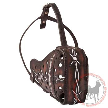 Dog Leather Muzzle with Adjustable Leather Straps