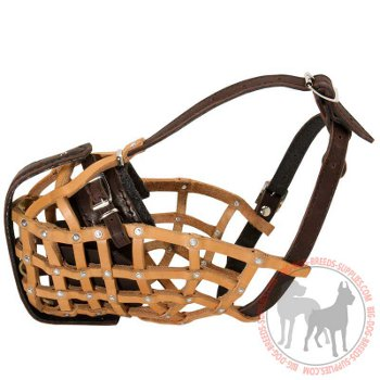 Dog leather muzzle with good air flow