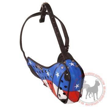 Leather Dog Muzzle Painted in the USA Flag Colors