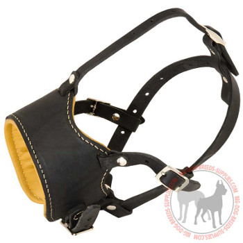 Leather Dog Muzzle with Nappa Leather Padding