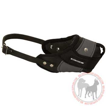 Nylon leather dog muzzle easy adjustable