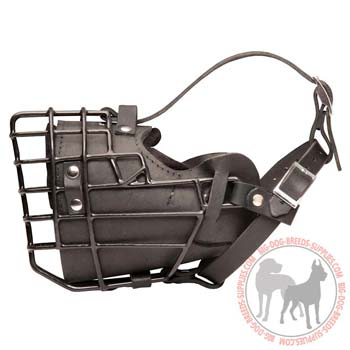 Metal cage dog muzzle leather padded