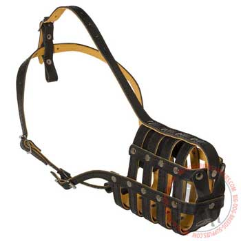 Leather mesh dog muzzle lighweight